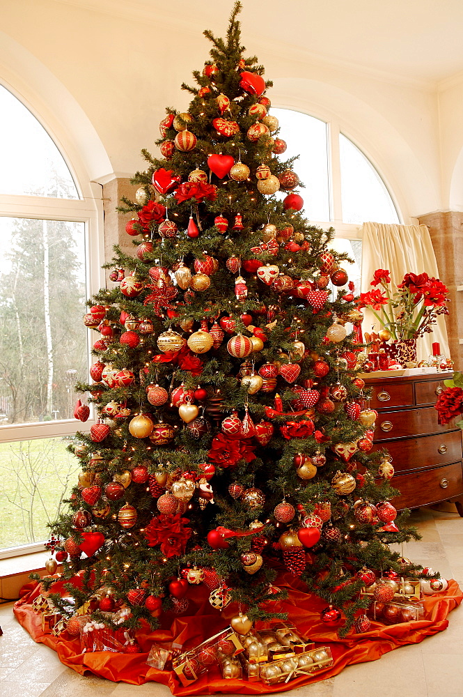 Colourfully decorated Christmas tree, various kinds of ornaments