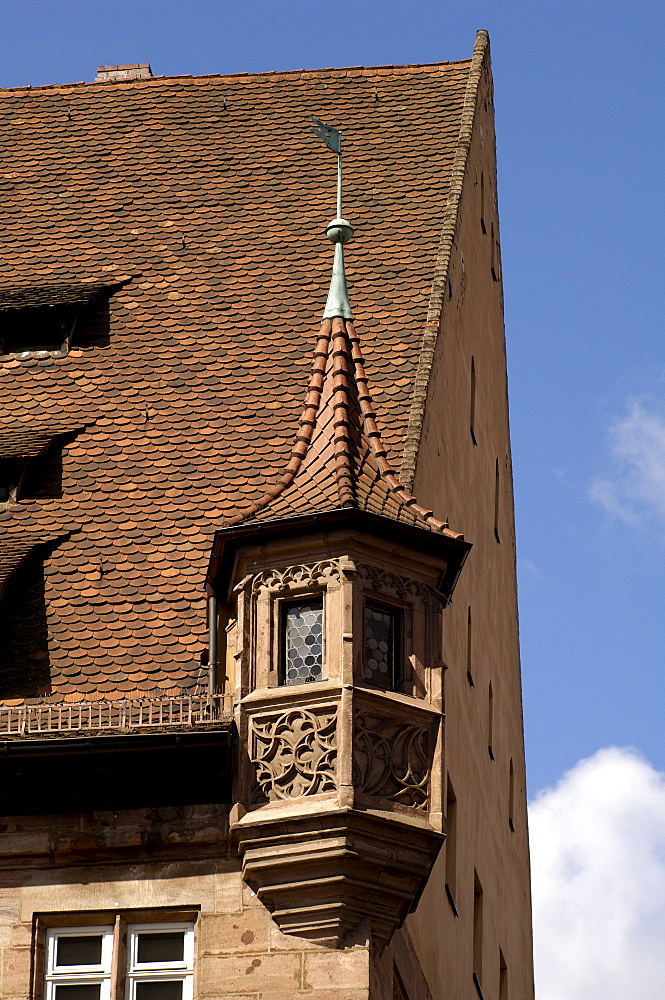 Bay window tower, historic building in the city centre of Nuremberg, Middle Franconia, Bavaria, Germany, Europe