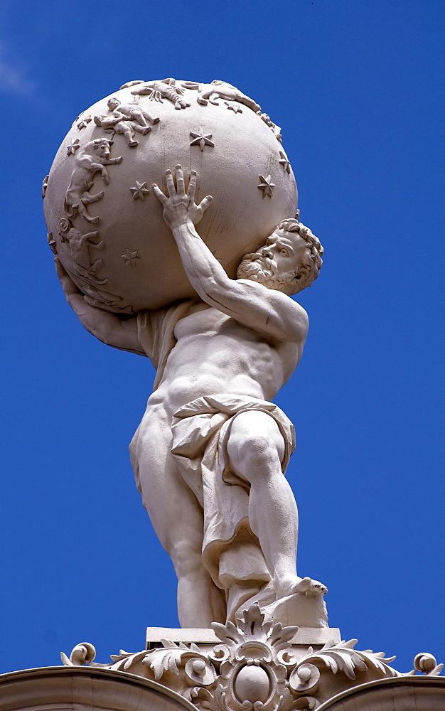 Atlas statue on the roof of Linderhof Palace, Upper Bavaria, Bavaria, Germany, Europe