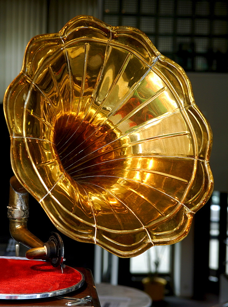 Golden loudspeaker of an old gramophone, Basel, Switzerland