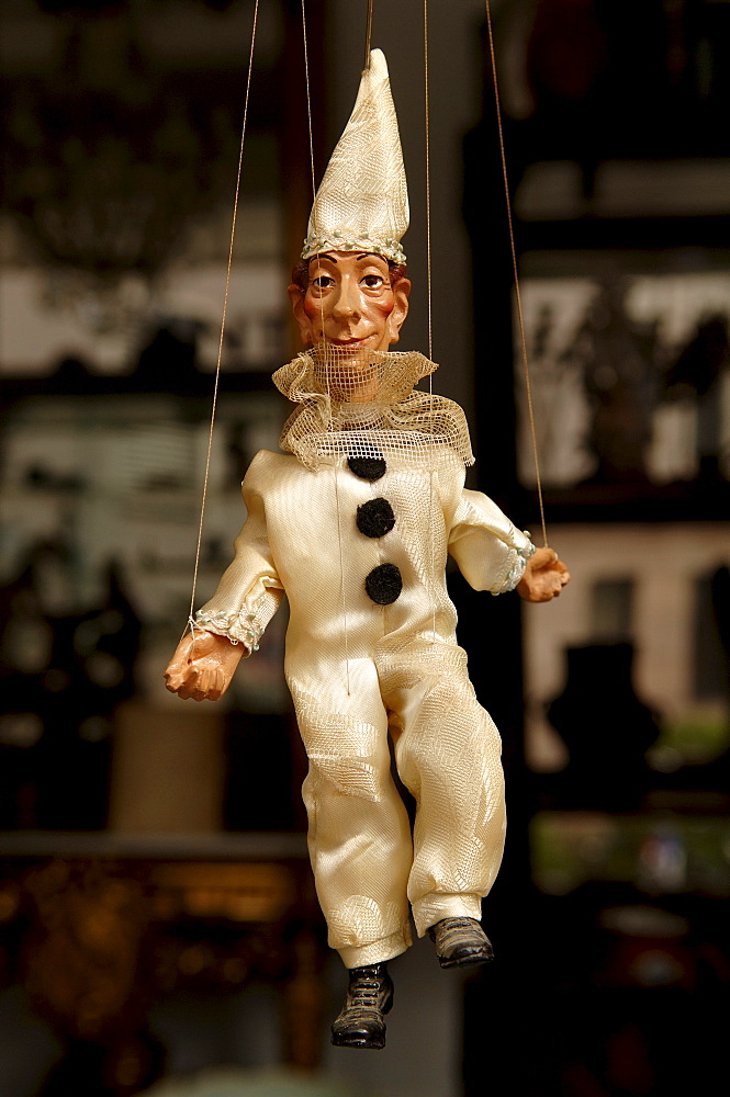 Marionette figure in an antique store, Nuremberg, Middle Franconia, Bavaria, Germany, Europe