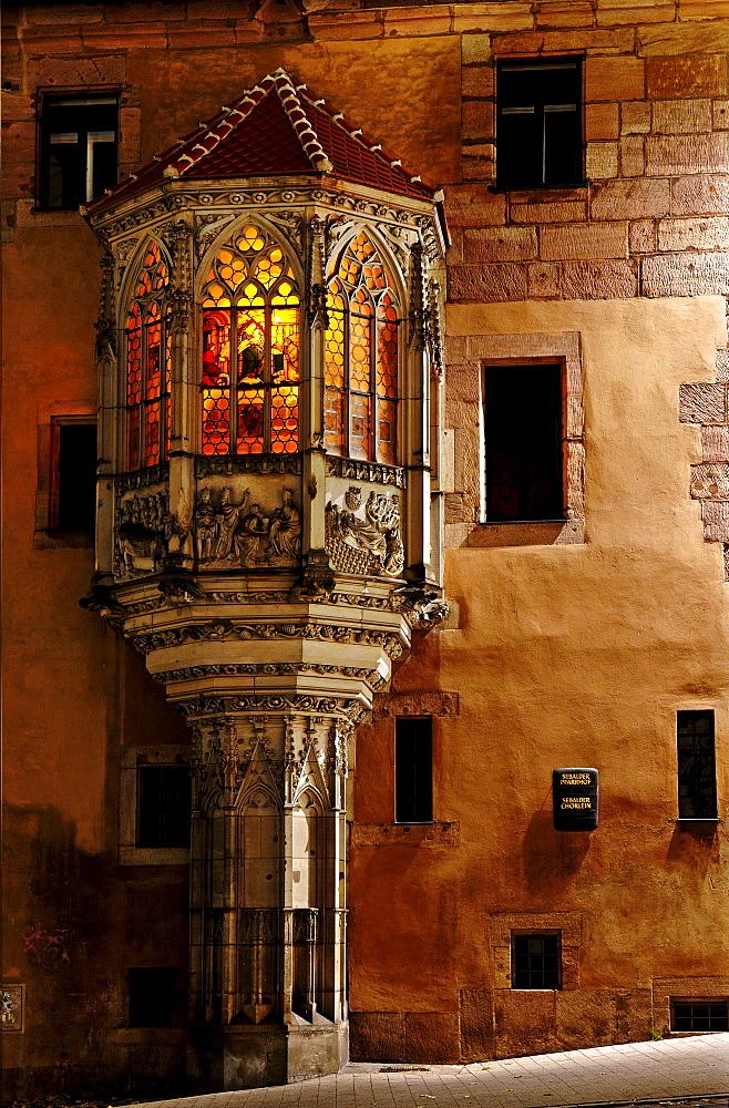 Bay window on the Sebaldus Rectory, Nuremberg, Middle Franconia, Bavaria, Germany