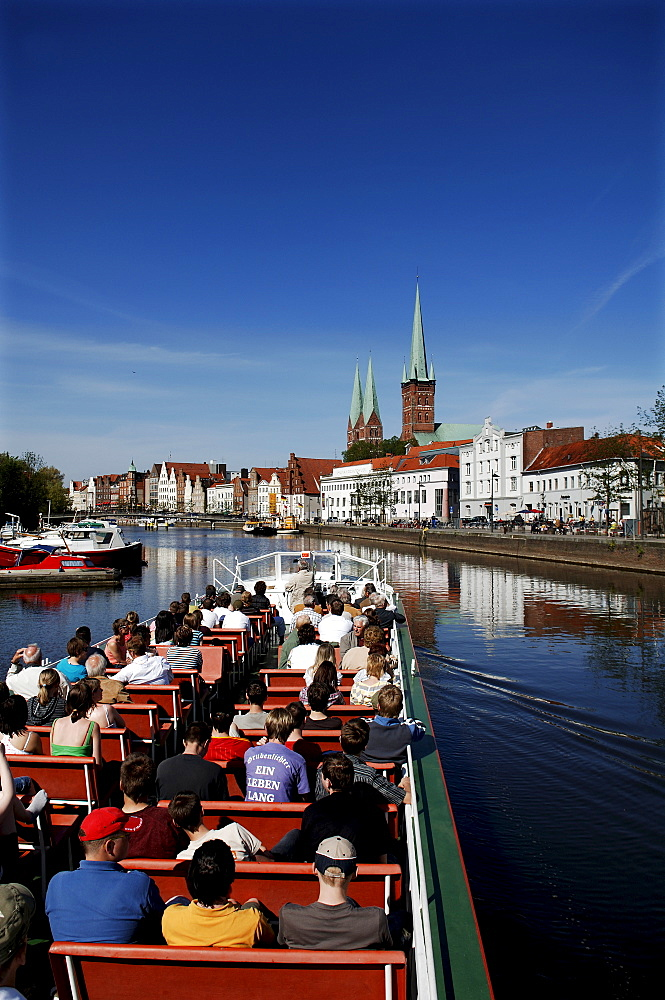 Luebeck Harbour, old gable houses, Luebeck, Schleswig-Holstein, Germany, Europe