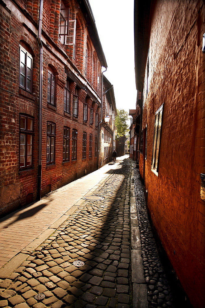 Old alleyway in the historic town centre, Lueneburg, Lower Saxony, Germany, Europe