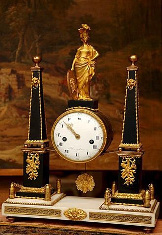 Old Napoleonic table clock in an antiques store, Bamberg, Upper Franconia, Bavaria, Germany, Europe