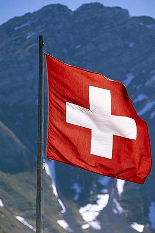 Swiss flag, Murten, canton of Fribourg, Switzerland