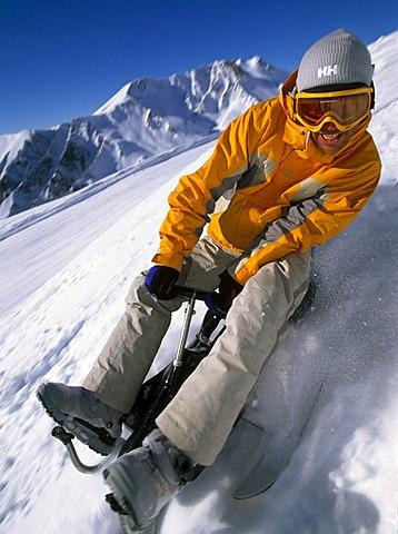 Luging, Snowcart, Serfaus, Tyrol, Austria