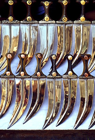 Jambiya or Jambia Daggers at a market, Sanaa, Yemen, Middle East