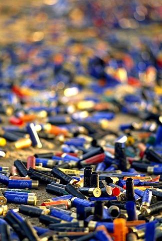 Shotgun shells at a clay pigeon shooting range