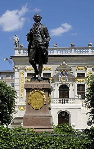 Goethe memorial in front of the Alte Handelsboerse, old exchange, Naschmarkt, Leipzig, Saxony, Germany, Europe