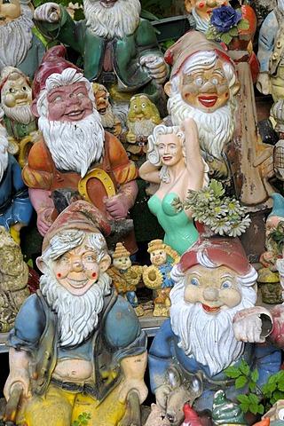 Garden gnomes, ceramic figurines