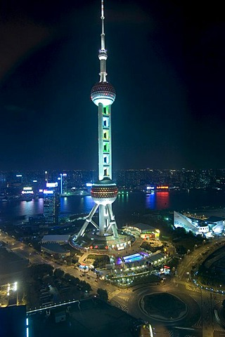 Oriental Pearl Tower at night, Pudong, Shanghai, China