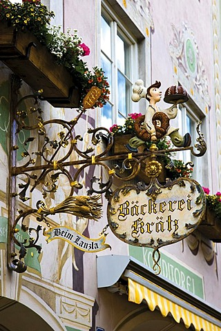 Shop sign advertising a bakery, Garmisch-Patenkirchen, Werdenfelser Land, Upper Bavaria, Bavaria, Germany, Europe