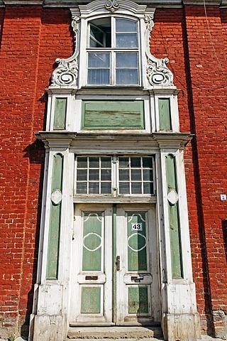 Old wooden portal, Hollaendisches Viertel, Dutch Quarter, Potsdam, Brandenburg, Germany, Europe