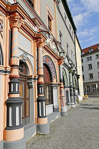 Historical Cranach house at the market of Weimar, Thuringia, Germany, Europe