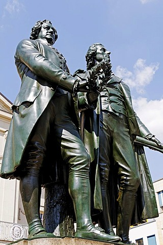 Monument to Goethe and Schiller, Weimar, Thuringia, Germany, Europe