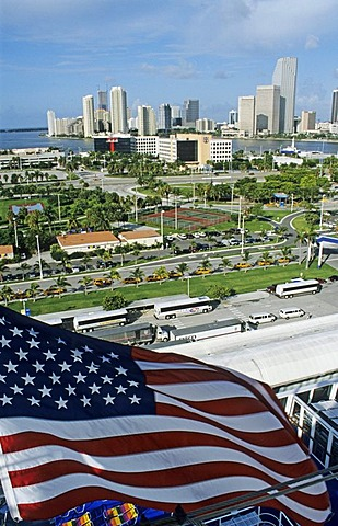 Miami cruise ship harbour and skyline, American flag, Florida, USA, America