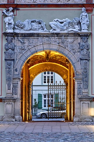 Fuerstenhof Palace, passway to the street, Wismar, Mecklenburg-Western Pomerania, Germany, Europe