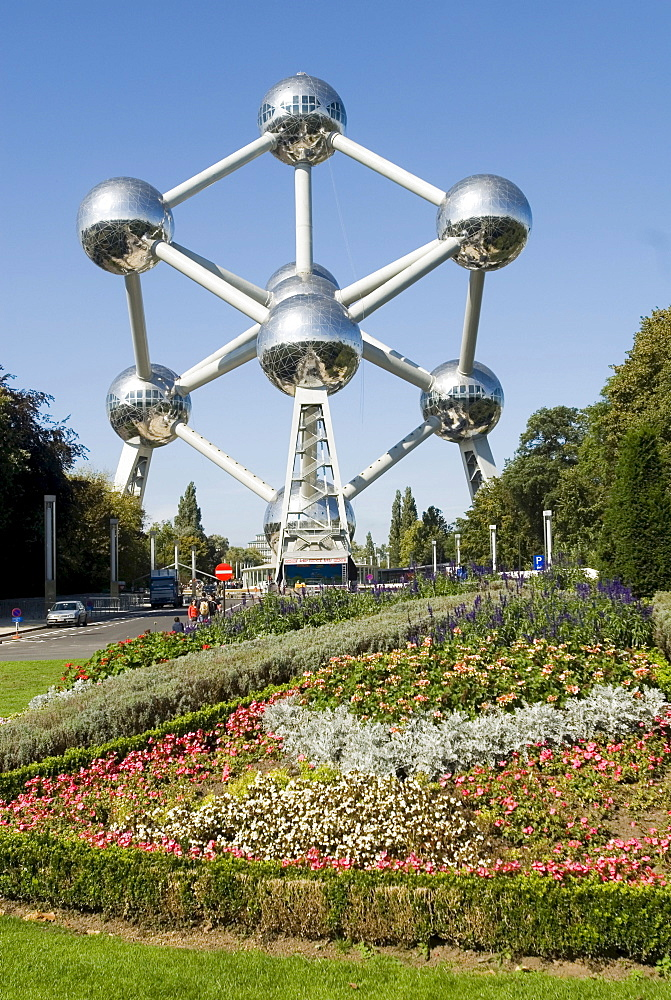 Atomium Brussels Belgium Worldfamous Monument of a iron atomic nucleus