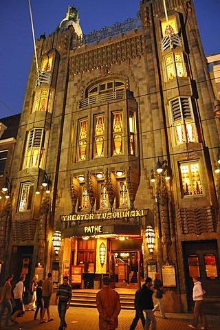 Night shot, Tuschinsky Theatre, Rembrandtplein, Amsterdam, Netherlands, Europe