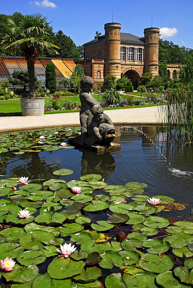 Botanical garden with old gate building, castle grounds, Karlsruhe, Baden-Wuerttemberg, Germany