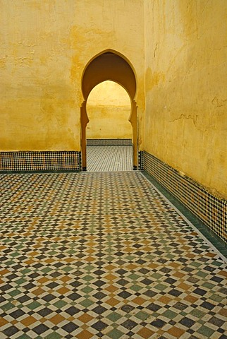 Doorway at the mausoleum of Moulay Ismail in Meknes, Morocco, Africa