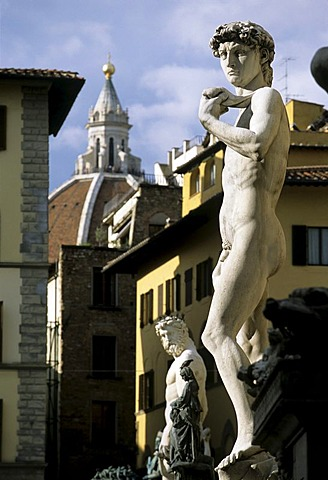 Statue of David by Michelangelo Buonarroti, Dome of the Cathedral, Florence, Firenze, Tuscany, Italy, Europe