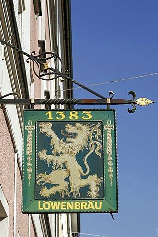 Sign, Loewenbrau-brewery, Munich, Bavaria, Germany