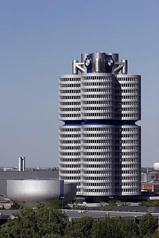 """Vierzylinder"" (four-cylinder engine), BMW head office with museum, Munich, Bavaria, Germany"