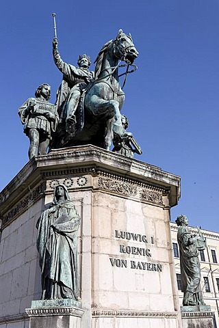 Equestrian sculpture Ludwig I. at the Odeons Square in Munich, Upper Bavaria, Bavaria, Germany