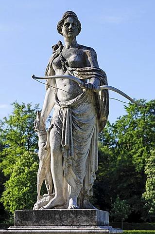 Statue of godess Diana, Castle Nymphenburg, Munich, Upper Bavaria, Germany