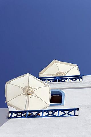 Parasols, Santorin, Aegean Sea, Greece, Europe