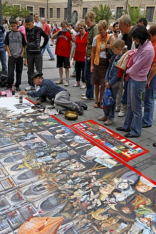 Pavement artist, Munich, Upper Bavaria, Bavaria, Germany
