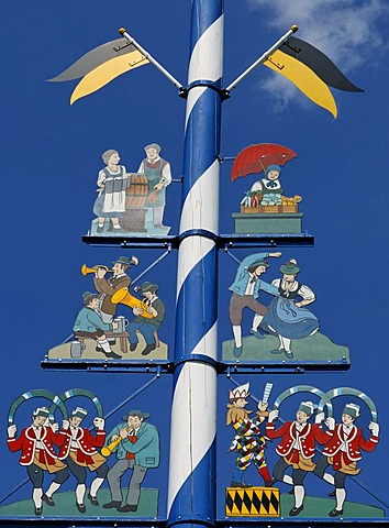 Detail of maypole at the Viktualienmarkt, Munich, Bavaria, Germany