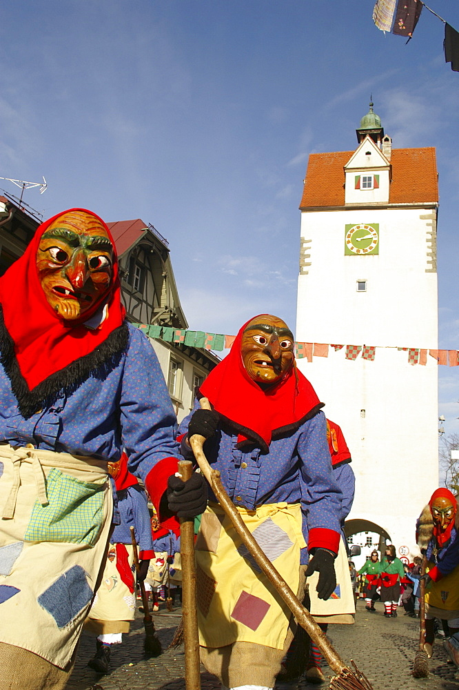 Swabian-Alemannic carnival, celebrated in South Germany, Switzerland and West Austria before Lent, Isny, Allgaeu, Baden-Wuerttemberg, Germany, Europe