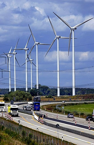 Windpark at the freeway Autobahn A13