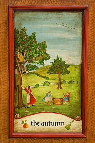 Autumn, door panel of a farmer's wardrobe painted with the four seasons - 832-345916