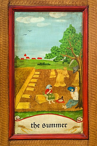 Summer, door panel of a farmer's wardrobe painted with the four seasons