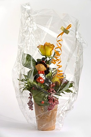 Gift-wrapped flower bouquet