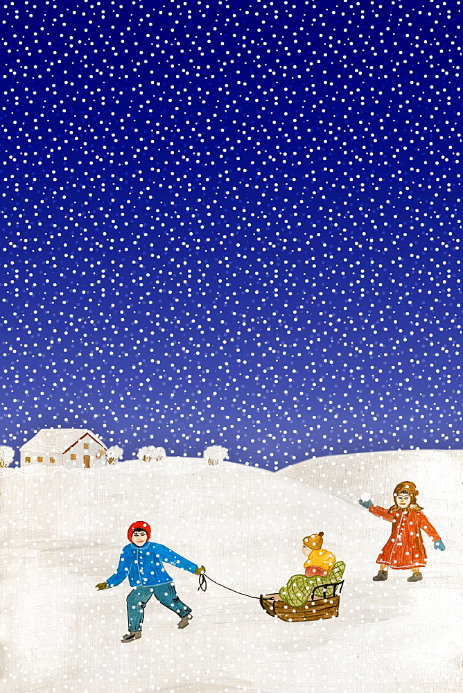 Popular painting, children playing in the snow - 832-346033