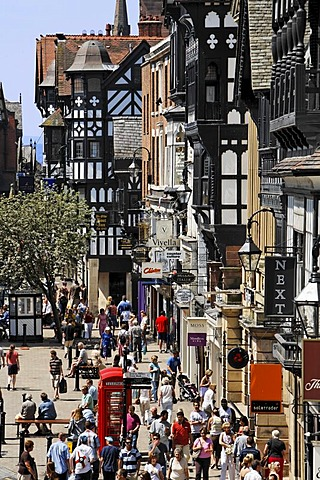 View from the Eastgate to the centre of the city, Chester, Cheshire, Great Britain