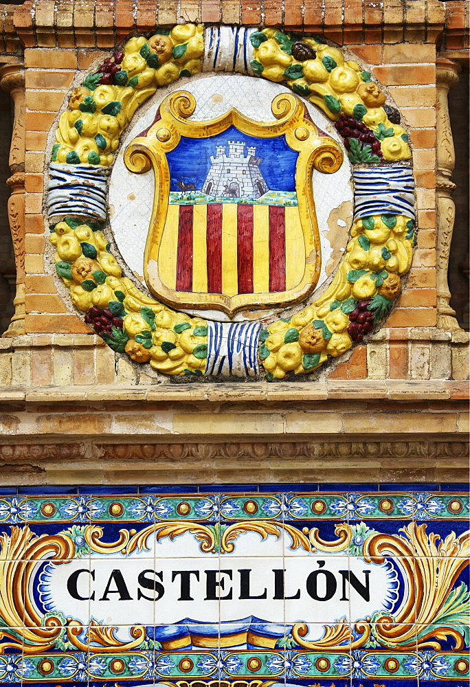 Coat of arms of Castellon at Palacio de Espana, Seville, Andalusia, Spain