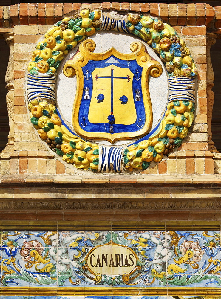 Coat of arms of the Canary Islands at the Palacio de Espana, Seville, Andalusia, Spain