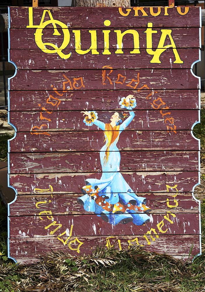 Wooden sign, La Quinta Restaurant, El Rocio, Andalusia, Spain