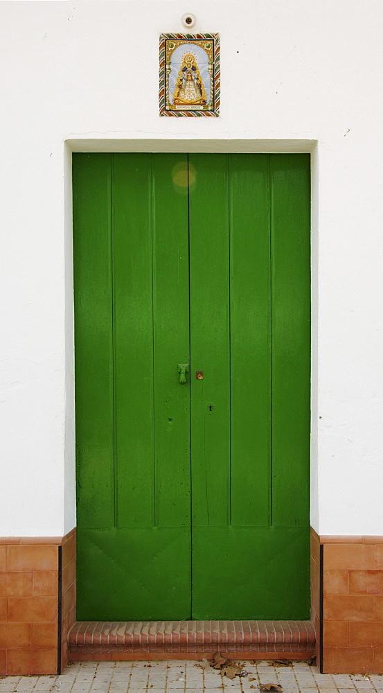 Old house door, painted front door, El Rocio, Andalusia, Spain