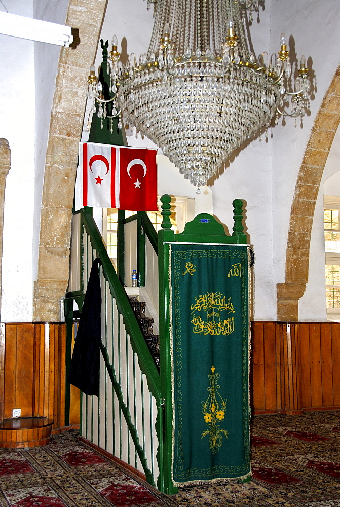 Flags of North Cyprus and Turkey hanging in the Aga Cafer Pascha Mosque, Girne or Kyrenia, North Cyprus