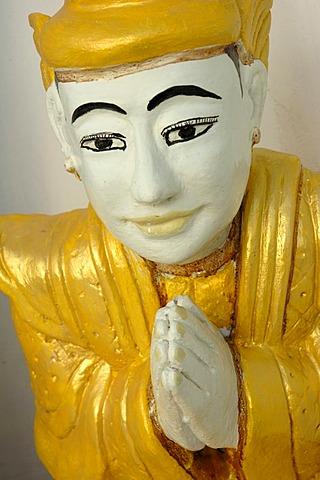Saint Statue, Shwedagon Pagoda, Yangoon, Rangun, Myanmar, Burma