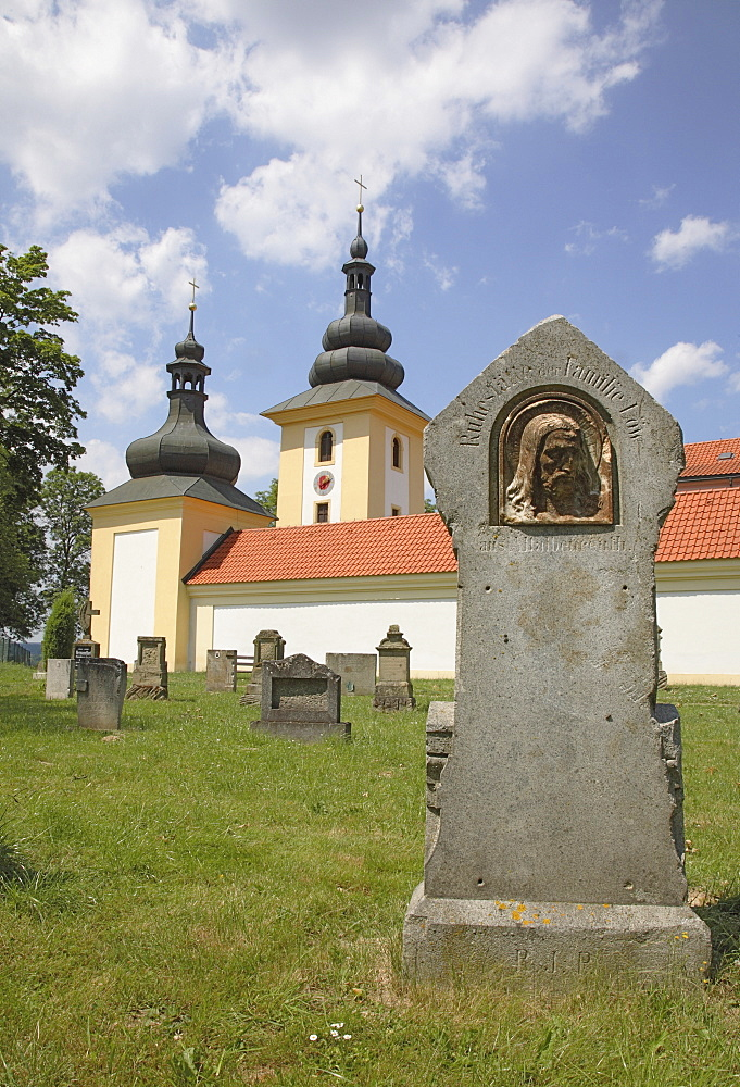 Gravestone in the historic cemetery of the pilgrimage church Maria Loreto in Star˝ Hroznatov, Altkinsberg, Cheb region, Eger, Boehmen, Egerland, Czech Republic, Europe