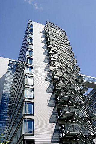 Fire escape at the office block of the Deutsche Telekom AG, Munich, Bavaria, Germany