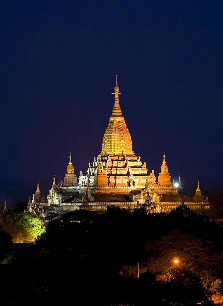 Ananda Temple at night, Bagan, Myanmar, Southeast Asia